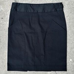 Kenneth Cole Black Cotton Pencil Mini Skirt
